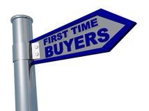 señal de tráfico azul de los compradores de la primera vez - representación 3d ilustración del vector