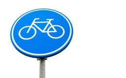 Señal de tráfico azul redonda del carril de bicicleta aislada foto de archivo libre de regalías