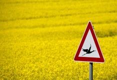 Señal de tráfico con una advertencia de las cigüeñas del vuelo Foto de archivo