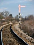 Señal de tráfico de ferrocarril Imagen de archivo libre de regalías