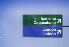 Señal de tráfico de la dirección de Ipanema Imagenes de archivo