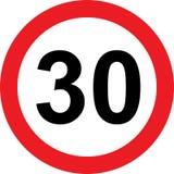 señal de tráfico de la limitación de 30 velocidades ilustración del vector