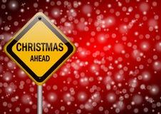 Señal de tráfico de la Navidad a continuación stock de ilustración