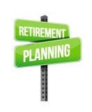 Señal de tráfico de la planificación de la jubilación Fotos de archivo libres de regalías