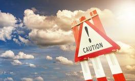 Señal de tráfico de la precaución Imagen de archivo libre de regalías