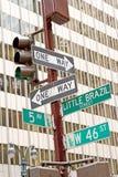 Señal de tráfico de Nueva York Imagen de archivo libre de regalías