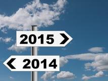 Señal de tráfico del Año Nuevo, poste indicador Imagen de archivo