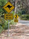 Señal de tráfico del canguro Fotografía de archivo