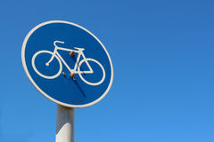 Señal de tráfico de la ruta de la bici Imagenes de archivo