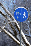 Señal de tráfico del invierno Fotografía de archivo