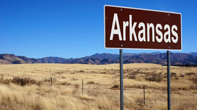 Señal de tráfico del marrón de Arkansas fotos de archivo libres de regalías