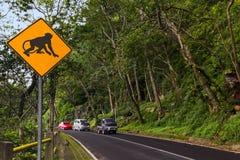 Señal de tráfico del mono - Indonesia Bali Fotografía de archivo libre de regalías