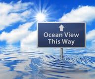Señal de tráfico en área inundada Imágenes de archivo libres de regalías