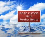 Señal de tráfico en área inundada Foto de archivo
