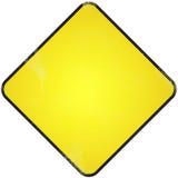 Señal de tráfico en blanco amarilla. Imágenes de archivo libres de regalías