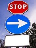 Señal de tráfico en blanco para el texto Foto de archivo libre de regalías