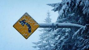 Señal de tráfico en nevadas pesadas almacen de metraje de vídeo