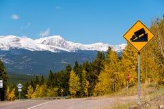 Señal de tráfico escarpada del camión del grado en la carretera Fotos de archivo libres de regalías