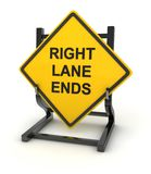 Señal de tráfico - extremos correctos del carril ilustración del vector