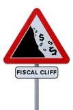 Señal de tráfico fiscal del acantilado Imágenes de archivo libres de regalías