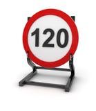 Señal de tráfico - límite de velocidad 120 stock de ilustración