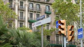 Señal de tráfico de la diagonal y de las glorias de Barcelona almacen de video