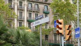 Señal de tráfico de la diagonal y de las glorias de Barcelona almacen de metraje de vídeo