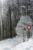 Señal de tráfico móvil del entredicho en bosque del invierno Imagen de archivo libre de regalías