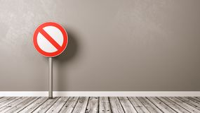 Señal de tráfico negada en piso de madera ilustración del vector
