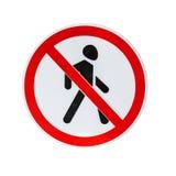 Señal de tráfico prohibida entrada aislada en blanco imagenes de archivo