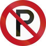 Señal de tráfico RP-1 - estacionamiento prohibido de Nueva Zelanda Fotografía de archivo