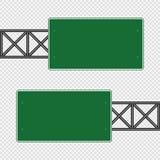Señal de tráfico verde, muestras del tablero del camino aisladas en fondo transparente Ilustración EPS 10 del vector libre illustration