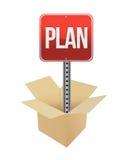 Señal de tráfico y caja del plan Imágenes de archivo libres de regalías