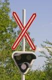 Señal de travesía de ferrocarril Imagen de archivo libre de regalías