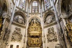 Señal del español de Burgos Cathedral fotografía de archivo