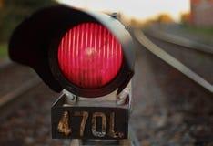 Señal del tren de la luz roja Imagenes de archivo