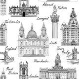 Señal famosa de las ciudades de Inglaterra Reino Unido del viaje con calligra hecho a mano stock de ilustración
