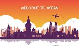 Señal famosa del color de Asia sudoriental, del destino del viaje, del diseño de la silueta, púrpura y anaranjado de la pendiente libre illustration