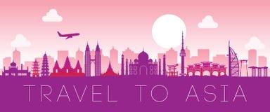 Señal famosa superior de Asia, color del rosa del diseño de la silueta ilustración del vector