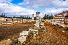 Señal histórica 16 de la ciudadela de Anjar imagenes de archivo