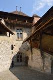 Señal histórica del castillo de Chillon de Montreux Suiza Foto de archivo