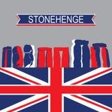Señal inglesa StoneHenge con la bandera de Reino Unido Foto de archivo libre de regalías