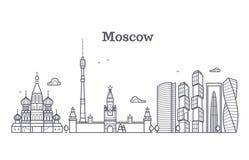 Señal linear de Moscú Rusia, horizonte moderno de la ciudad, panorama del vector con los edificios soviéticos stock de ilustración