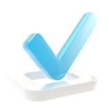 Señal sí hecha sobre el rectángulo de verificación aislado Foto de archivo
