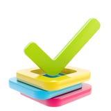 Señal sí hecha sobre la pila de rectángulos de verificación Imagen de archivo libre de regalías