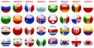 Señala el fútbol Rusia 2018 del mundial por medio de una bandera de s imagen de archivo