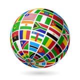 Señala el globo por medio de una bandera. África. stock de ilustración