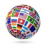 Señala el globo por medio de una bandera Imagen de archivo