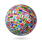 Señala el globo por medio de una bandera Fotografía de archivo