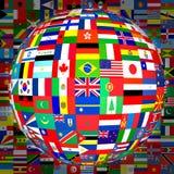 Señala el globo por medio de una bandera (con el fondo) Imágenes de archivo libres de regalías